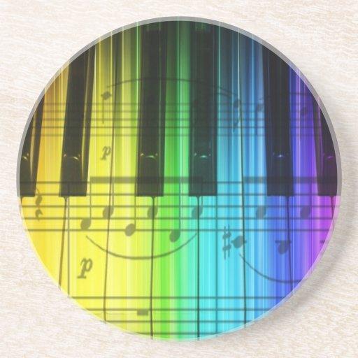 Colorful Rainbow Piano Keyboard Drink Coaster
