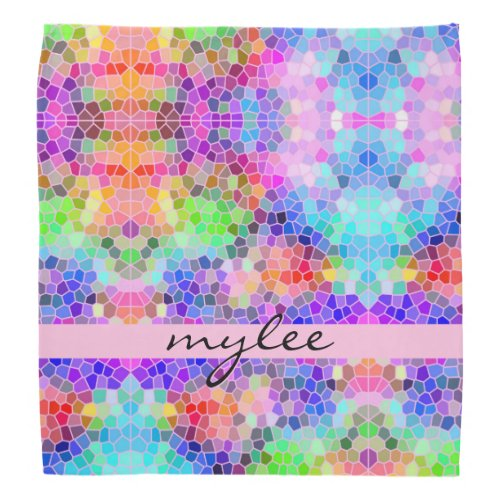 Colorful Rainbow Pink Blue Abstract Funky Mosaic Bandana