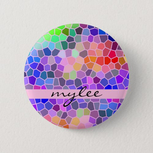 Colorful Rainbow Pink Blue Abstract Funky Mosaic Button