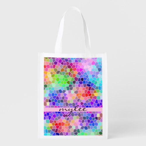 Colorful Rainbow Pink Blue Abstract Funky Mosaic Grocery Bag