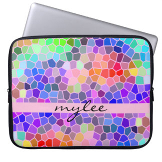 Colorful Rainbow Pink Blue Abstract Funky Mosaic Laptop Sleeve