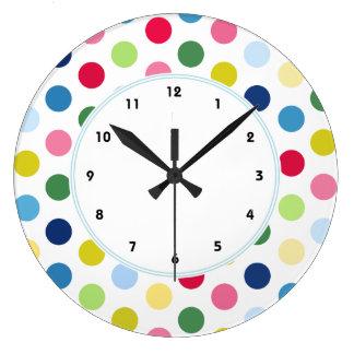 Colorful Rainbow polka dot wall clock