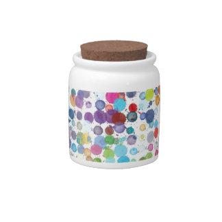 Colorful Rainbow Polka Dot Watercolor Candy Dish
