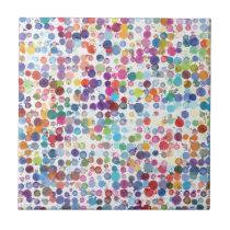 Colorful Rainbow Polka Dot Watercolor Tile