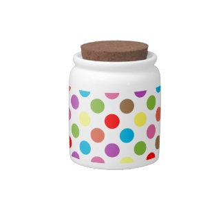 Colorful rainbow polka dots pattern candy dish