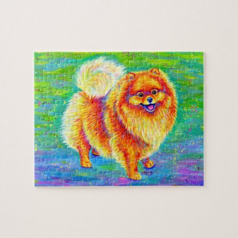Colorful Rainbow Pomeranian Cute Dog Jigsaw Puzzle