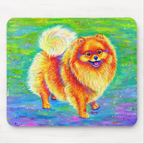 Colorful Rainbow Pomeranian Cute Dog Mouse Pad