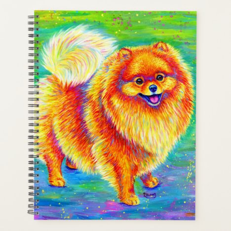 Colorful Rainbow Pomeranian Cute Dog Planner