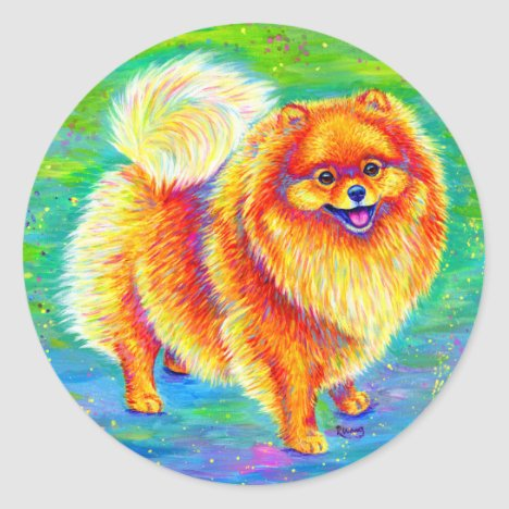 Colorful Rainbow Pomeranian Cute Dog Stickers
