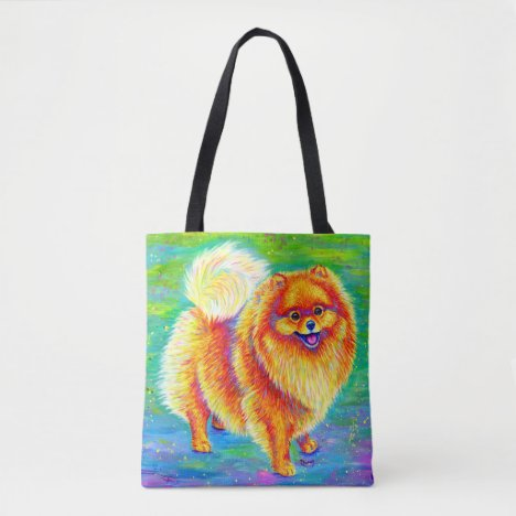 Colorful Rainbow Pomeranian Cute Dog Tote Bag
