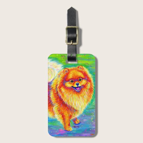 Colorful Rainbow Pomeranian Dog Luggage Tag