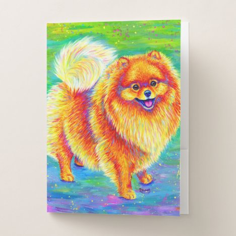 Colorful Rainbow Pomeranian Dog Pocket Folder