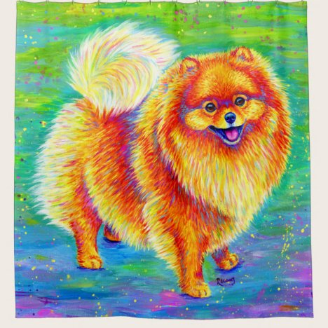 Colorful Rainbow Pomeranian Dog Shower Curtain