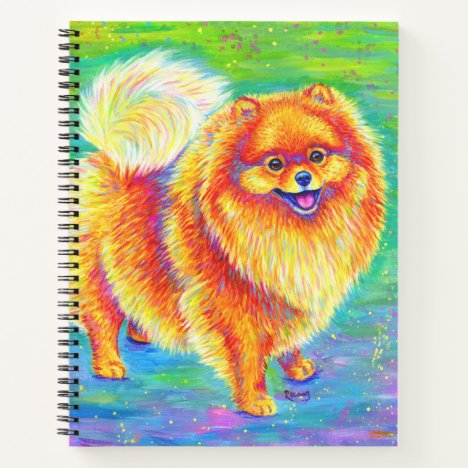 Colorful Rainbow Pomeranian Dog Spiral Notebook