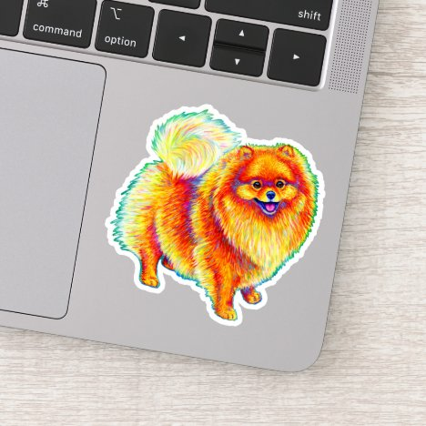 Colorful Rainbow Pomeranian Dog Vinyl Sticker