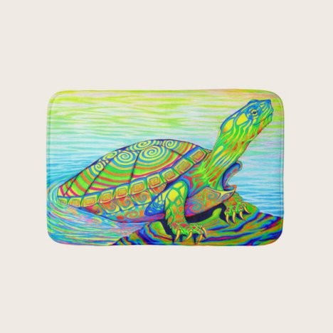 Colorful Rainbow Psychedelic Neon Turtle Bath Mat