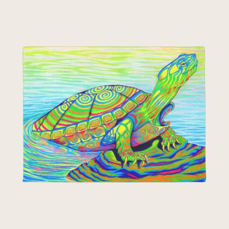 Colorful Rainbow Psychedelic Turtle Door Mat