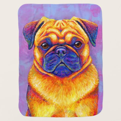 Colorful Rainbow Pug Cute Dog Baby Blanket
