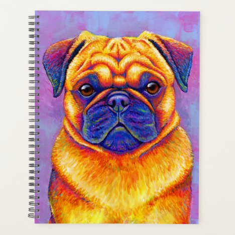 Colorful Rainbow Pug Cute Dog Planner
