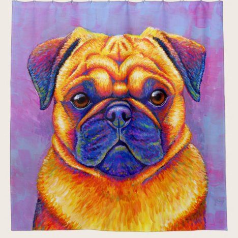 Colorful Rainbow Pug Cute Dog Shower Curtain