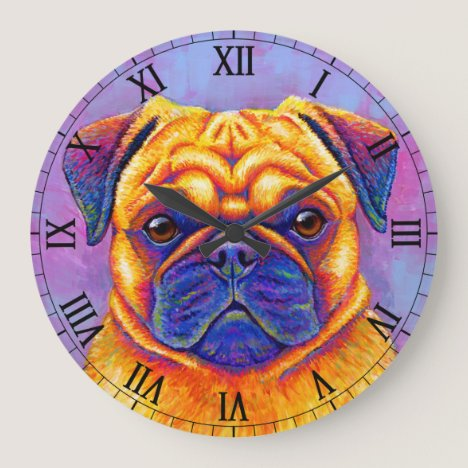 Colorful Rainbow Pug Cute Dog Wall Clock