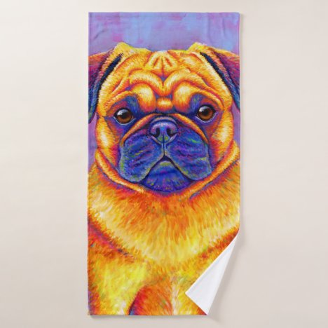 Colorful Rainbow Pug Dog Bath Towel Set