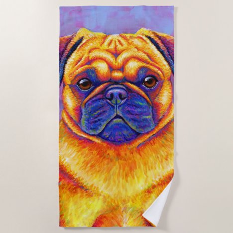 Colorful Rainbow Pug Dog Beach Towel