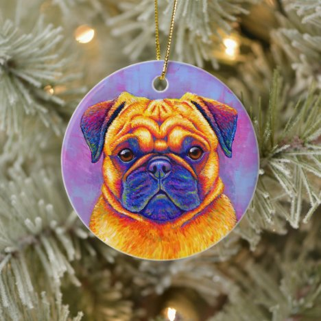 Colorful Rainbow Pug Dog Ceramic Ornament