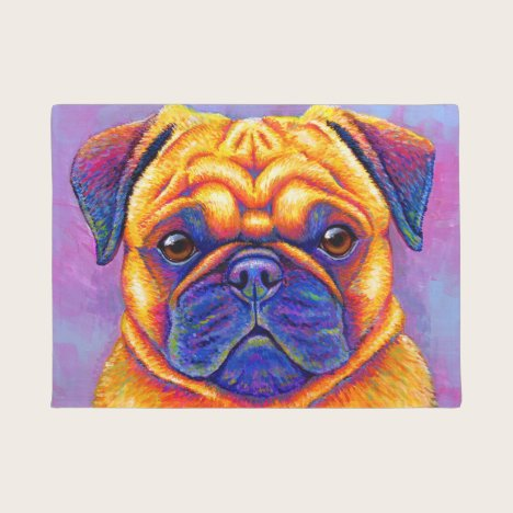 Colorful Rainbow Pug Dog Door Mat