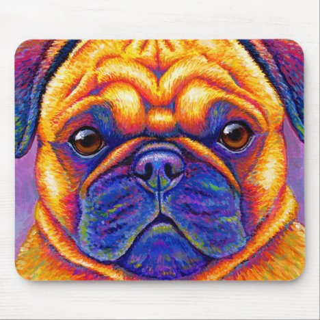 Colorful Rainbow Pug Dog Face Mouse pad