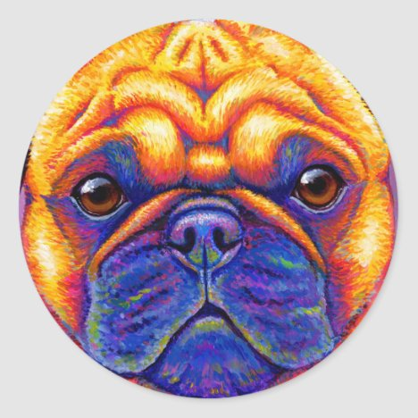 Colorful Rainbow Pug Dog Face Sticker