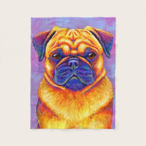Colorful Rainbow Pug Dog Fleece Blanket