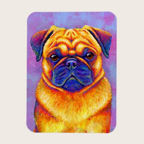 Colorful Rainbow Pug Dog Flexible Magnet