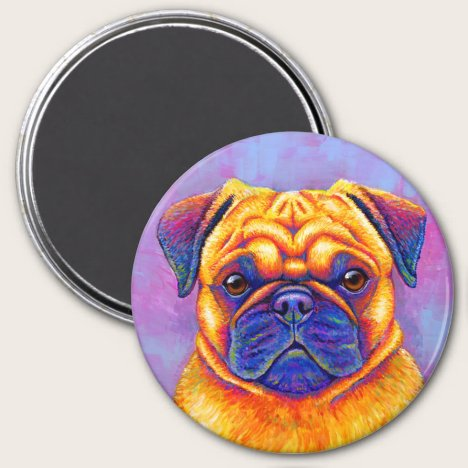 Colorful Rainbow Pug Dog Magnet