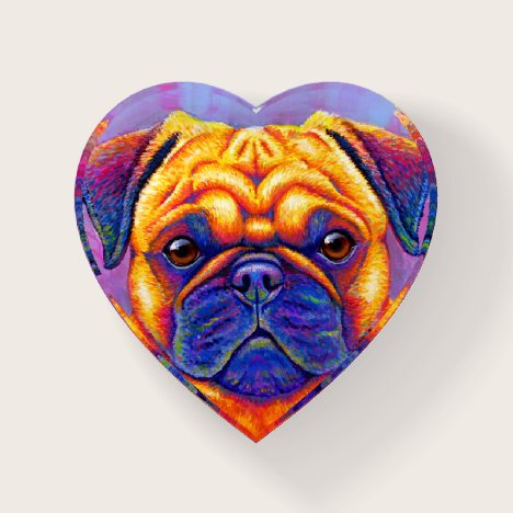 Colorful Rainbow Pug Dog Paperweight