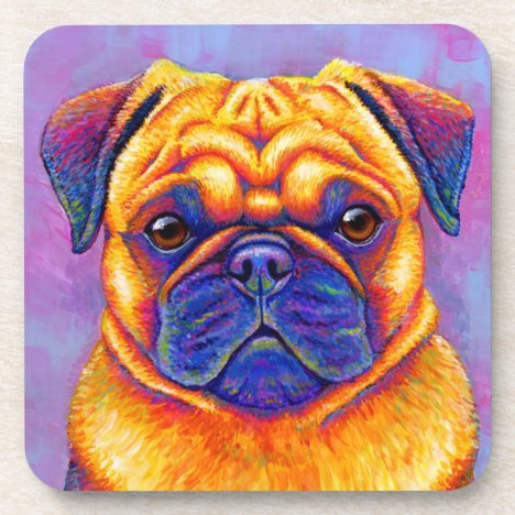 Colorful Rainbow Pug Dog Plastic Coasters