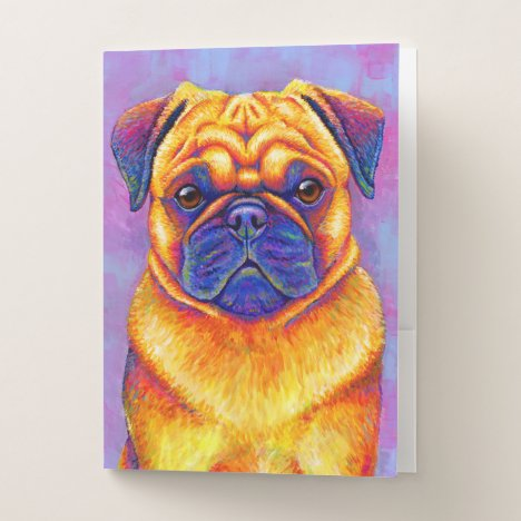 Colorful Rainbow Pug Dog Pocket Folder