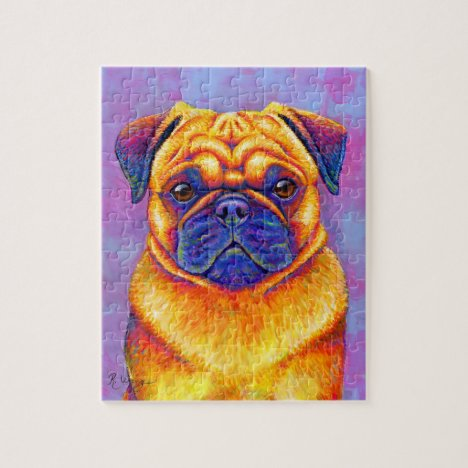 Colorful Rainbow Pug Dog Puzzle