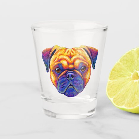 Colorful Rainbow Pug Dog Shot Glass