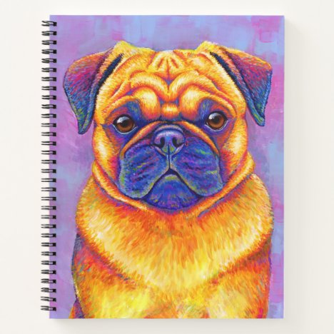 Colorful Rainbow Pug Dog Spiral Notebook