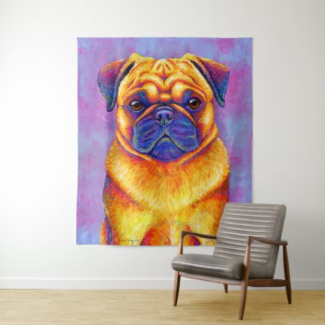 Colorful Rainbow Pug Dog Tapestry
