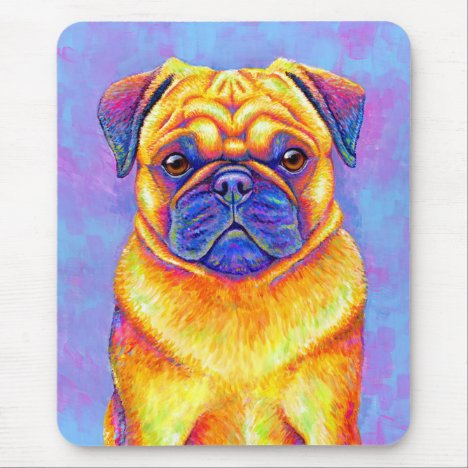 Colorful Rainbow Pug Dog Vertical Mouse pad