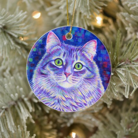 Colorful Rainbow Purple Tabby Cat Ceramic Ornament