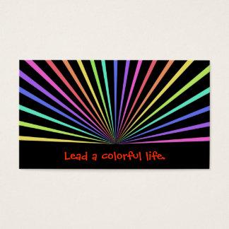 Colorful Rainbow Rays on Black Business Card