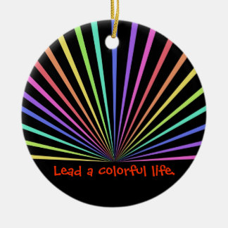 Colorful Rainbow Rays on Black Ceramic Ornament