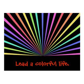 Colorful Rainbow Rays on Black Postcard