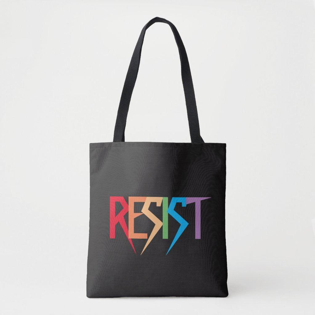 Colorful Rainbow Resist Tote Bag
