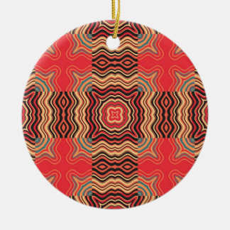 Colorful Rainbow Retro Seamless Pattern Square Double-Sided Ceramic Round Christmas Ornament