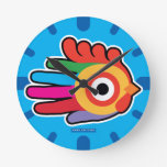 Hand shaped Colorful Rainbow Rooster Round Clock