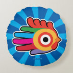 Hand shaped Colorful Rainbow Rooster Round Pillow